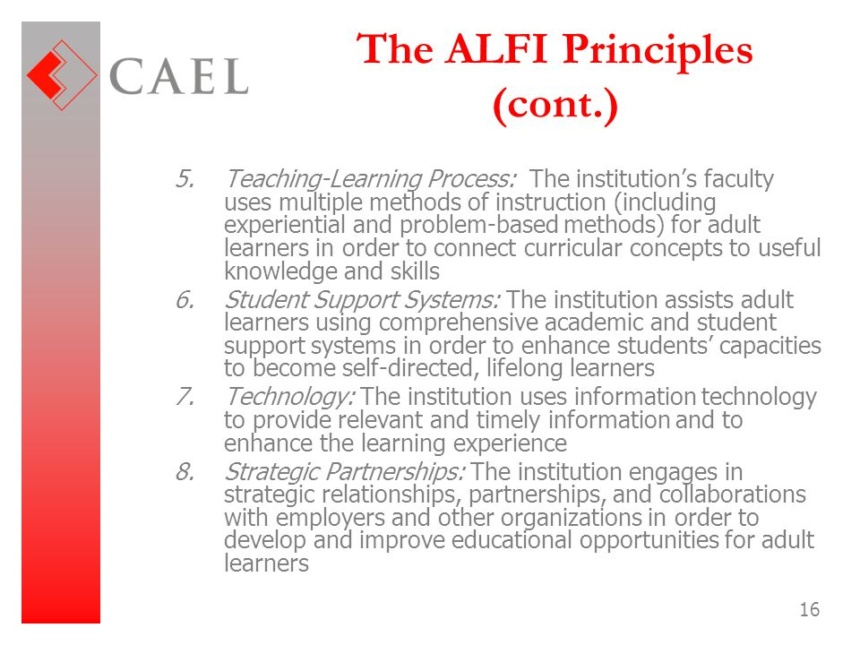 16 The ALFI Principles (cont.) 5.Teaching-Learning Process: The institution's faculty uses multiple methods of instruction (including experiential and