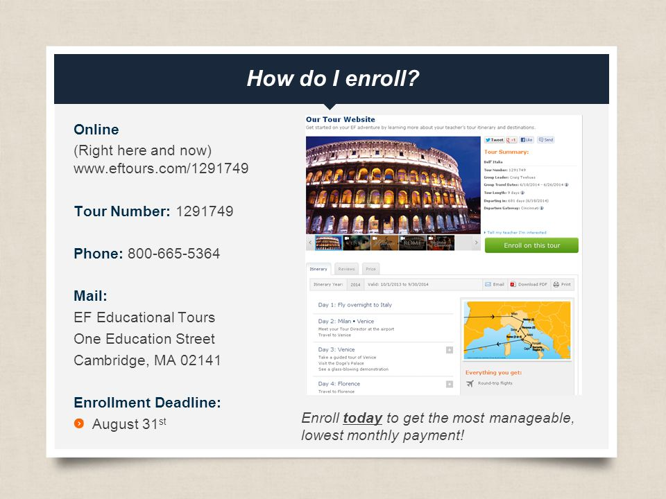 eftours.com How do I enroll.