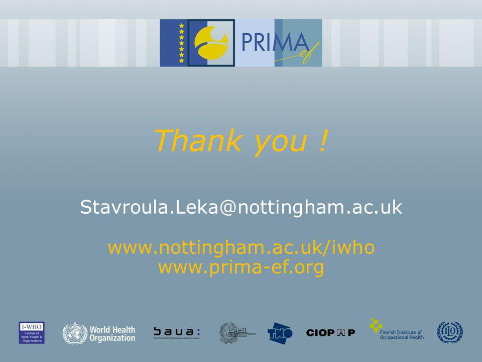 Thank you ! Stavroula.Leka@nottingham.ac.uk www.nottingham.ac.uk/iwho www.prima-ef.org