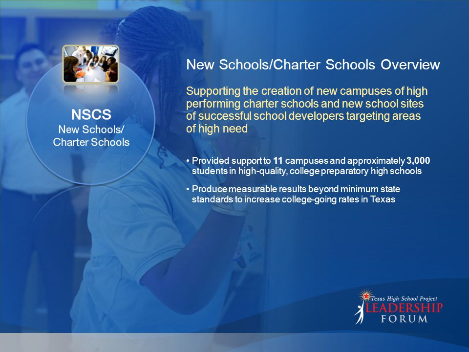 New Schools/Charter Schools Overview Provided support to 11 campuses and approximately 3,000 students in high-quality, college preparatory high schools Produce measurable results beyond minimum state standards to increase college-going rates in Texas Supporting the creation of new campuses of high performing charter schools and new school sites of successful school developers targeting areas of high need