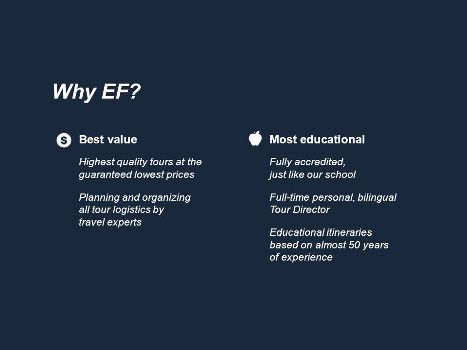 Why EF? Most educational Fully accredited, just like our school Full-time personal, bilingual Tour Director Educational itineraries based on almost 50