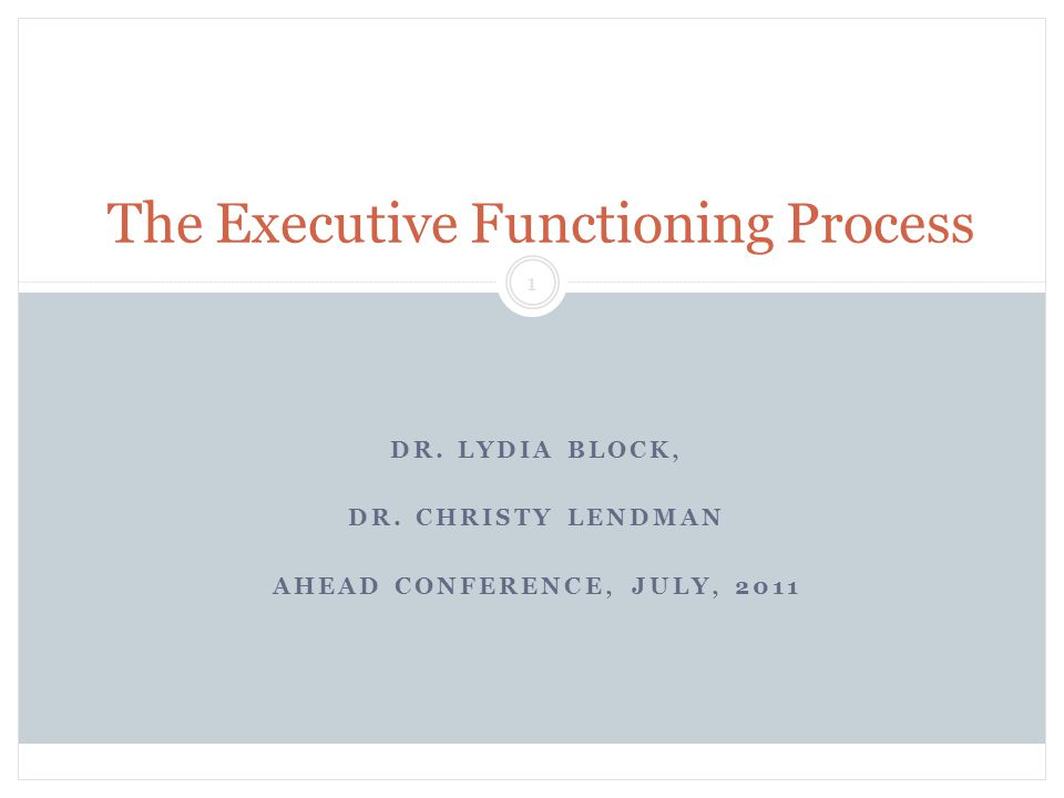 DR. LYDIA BLOCK, DR. CHRISTY LENDMAN AHEAD CONFERENCE, JULY, 2011 Block & Lendman, Grade 13 1 The Executive Functioning Process