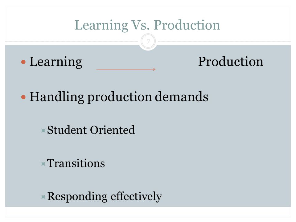 Learning Vs. Production Block & Lendman, Grade 13 7 LearningProduction Handling production demands  Student Oriented  Transitions  Responding effec