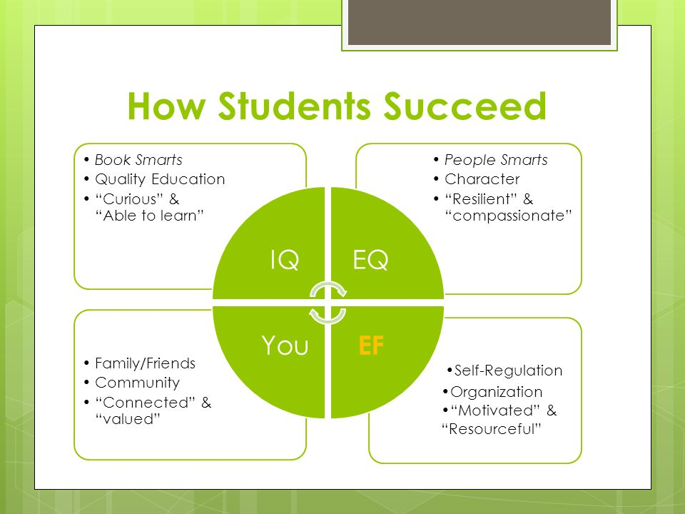 How Students Succeed Self-Regulation Organization Motivated & Resourceful Family/Friends Community Connected & valued People Smarts Character Resilient & compassionate Book Smarts Quality Education Curious & Able to learn IQEQ EF You