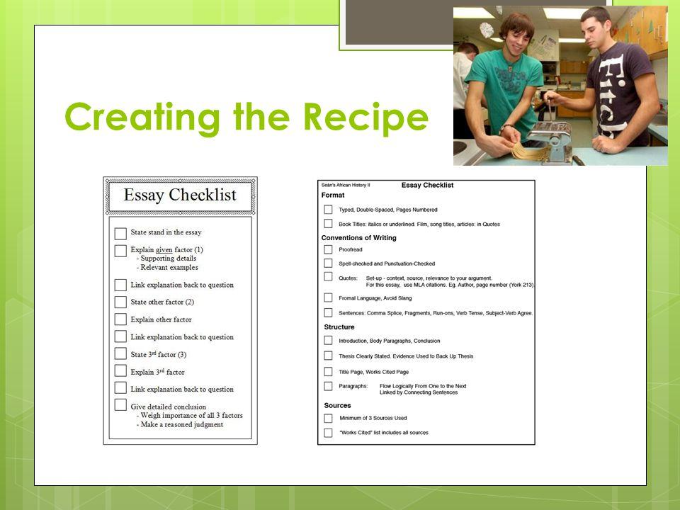 Creating the Recipe