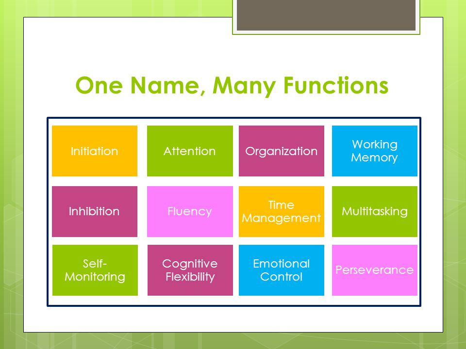 One Name, Many Functions InitiationAttentionOrganization Working Memory InhibitionFluency Time Management Multitasking Self- Monitoring Cognitive Flex