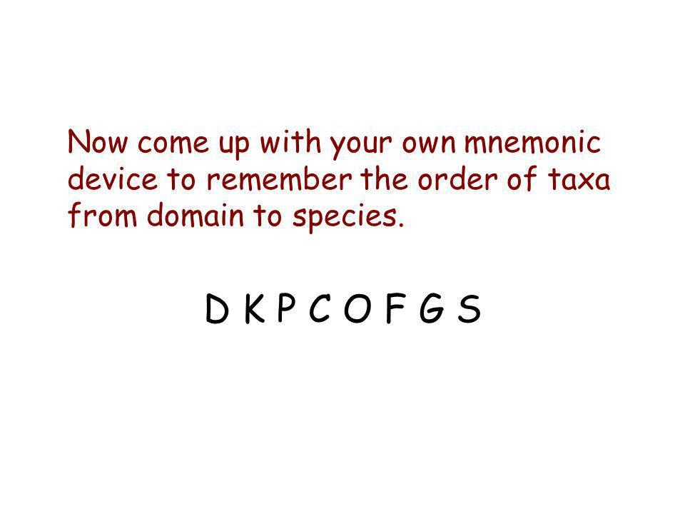 Now come up with your own mnemonic device to remember the order of taxa from domain to species.