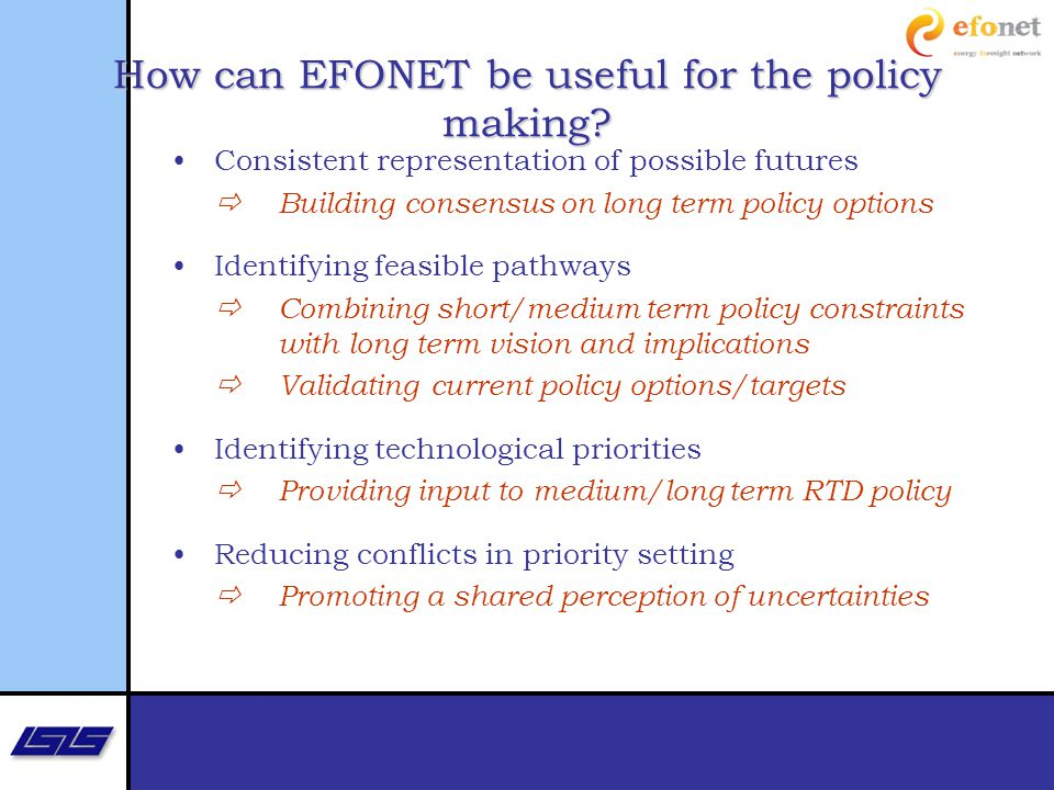 How can EFONET be useful for the policy making.