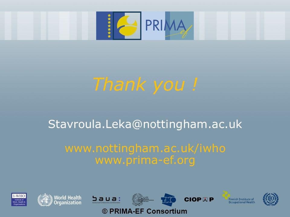 © PRIMA-EF Consortium Thank you ! Stavroula.Leka@nottingham.ac.uk www.nottingham.ac.uk/iwho www.prima-ef.org