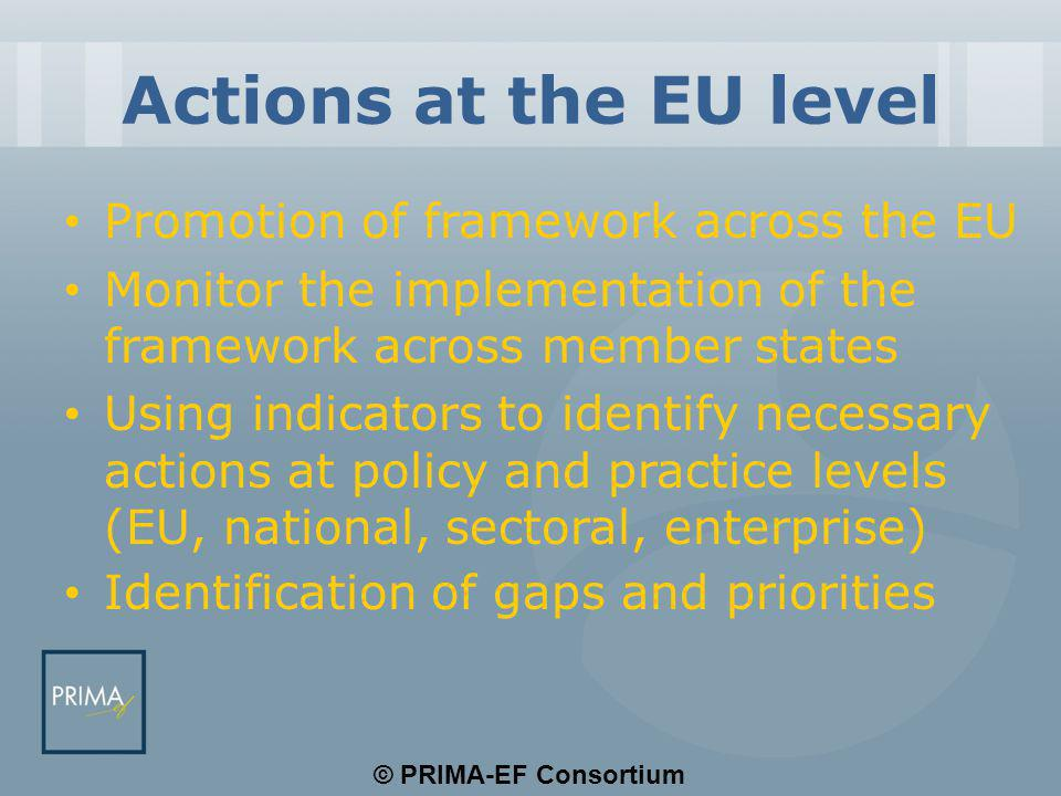 © PRIMA-EF Consortium Actions at the EU level Promotion of framework across the EU Monitor the implementation of the framework across member states Us