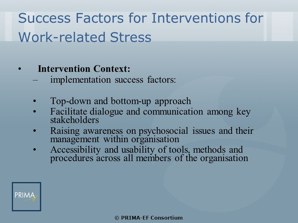 Success Factors for Interventions for Work-related Stress Intervention Context: –implementation success factors: Top-down and bottom-up approach Facilitate dialogue and communication among key stakeholders Raising awareness on psychosocial issues and their management within organisation Accessibility and usability of tools, methods and procedures across all members of the organisation © PRIMA-EF Consortium