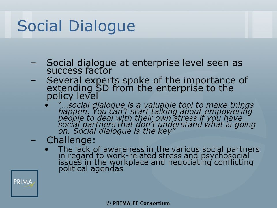 Social Dialogue –Social dialogue at enterprise level seen as success factor –Several experts spoke of the importance of extending SD from the enterprise to the policy level …social dialogue is a valuable tool to make things happen.