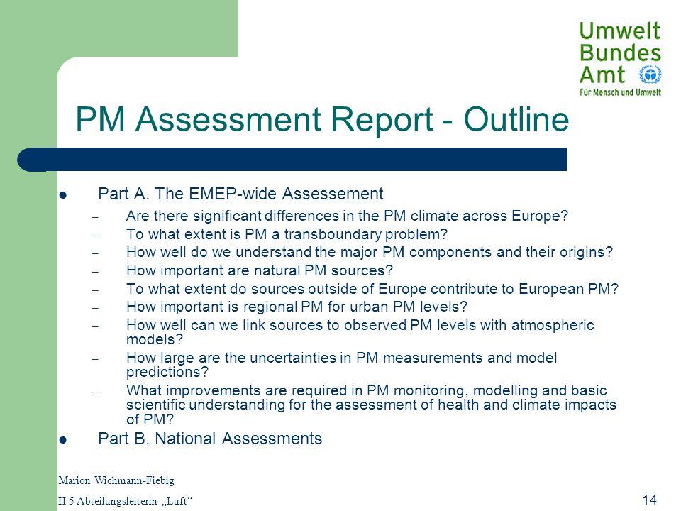 "Marion Wichmann-Fiebig II 5 Abteilungsleiterin ""Luft 14 PM Assessment Report - Outline Part A."