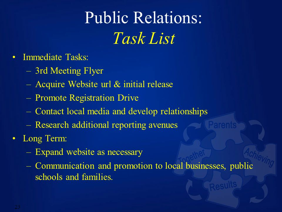 23 Public Relations: Task List Immediate Tasks: –3rd Meeting Flyer –Acquire Website url & initial release –Promote Registration Drive –Contact local media and develop relationships –Research additional reporting avenues Long Term: –Expand website as necessary –Communication and promotion to local businesses, public schools and families.
