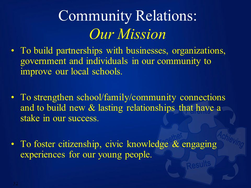 32 Community Relations: Our Mission To build partnerships with businesses, organizations, government and individuals in our community to improve our local schools.