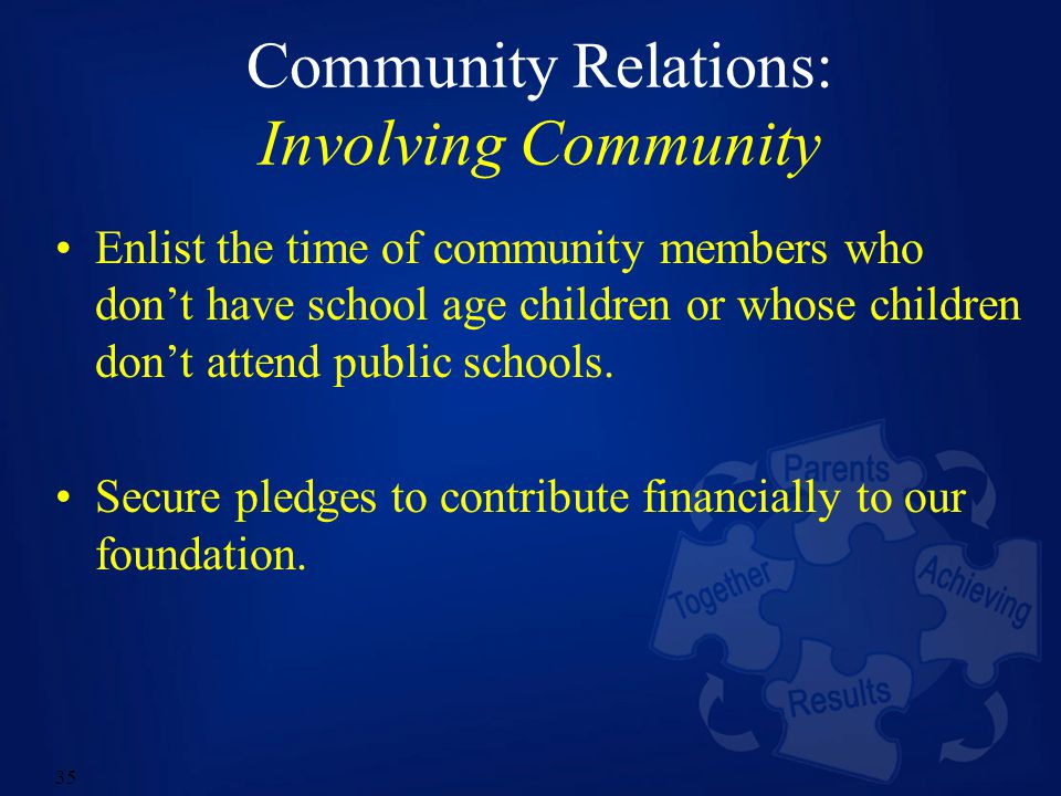 35 Community Relations: Involving Community Enlist the time of community members who don't have school age children or whose children don't attend public schools.