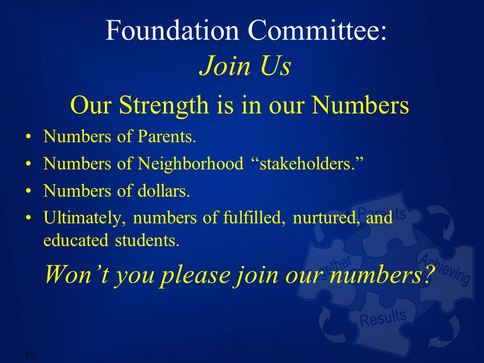 50 Foundation Committee: Join Us Our Strength is in our Numbers Numbers of Parents.