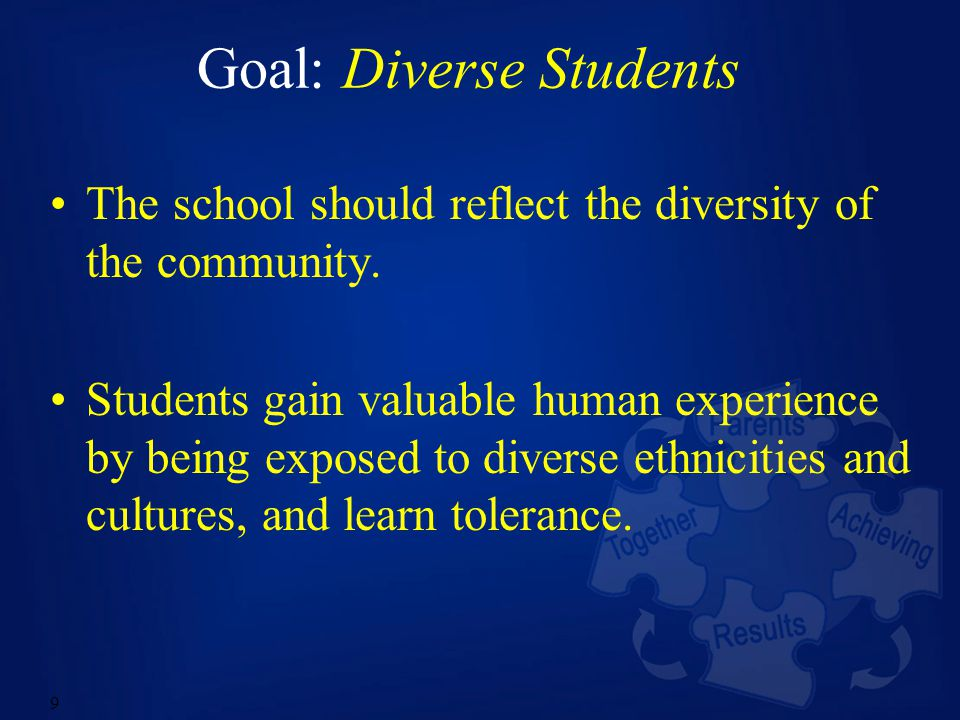9 Goal: Diverse Students The school should reflect the diversity of the community.