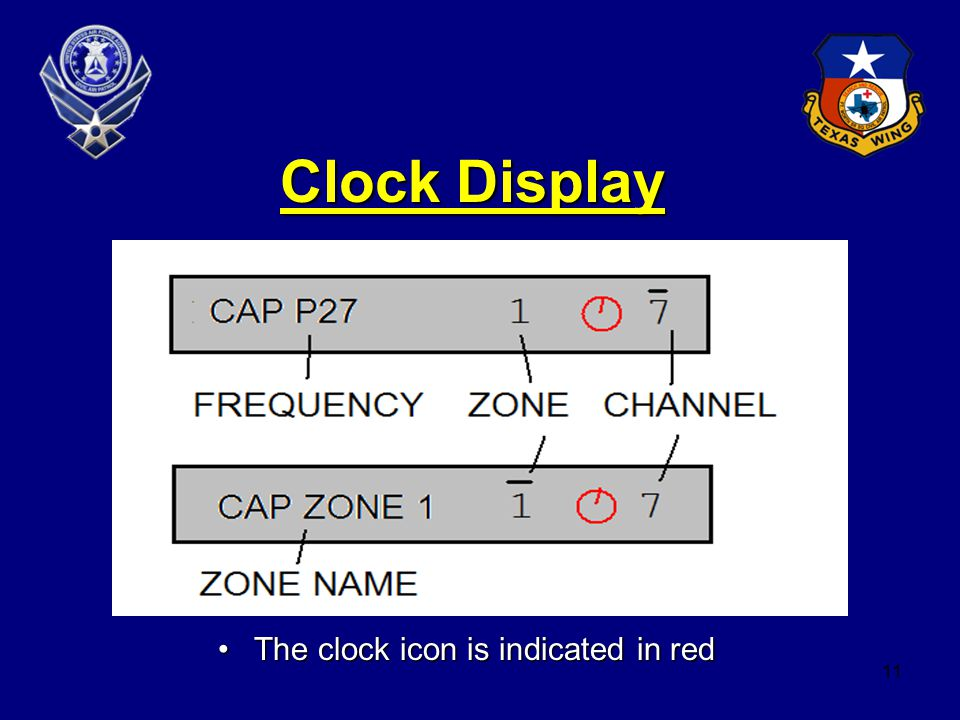 11 Clock Display The clock icon is indicated in redThe clock icon is indicated in red