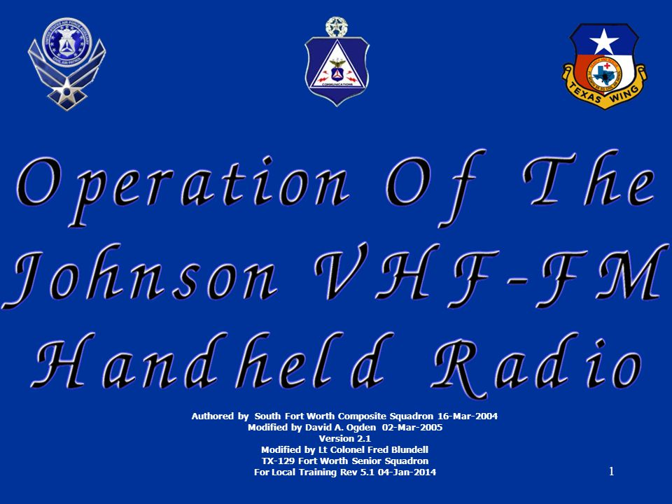 1 Authored by South Fort Worth Composite Squadron 16-Mar-2004 Modified by David A.