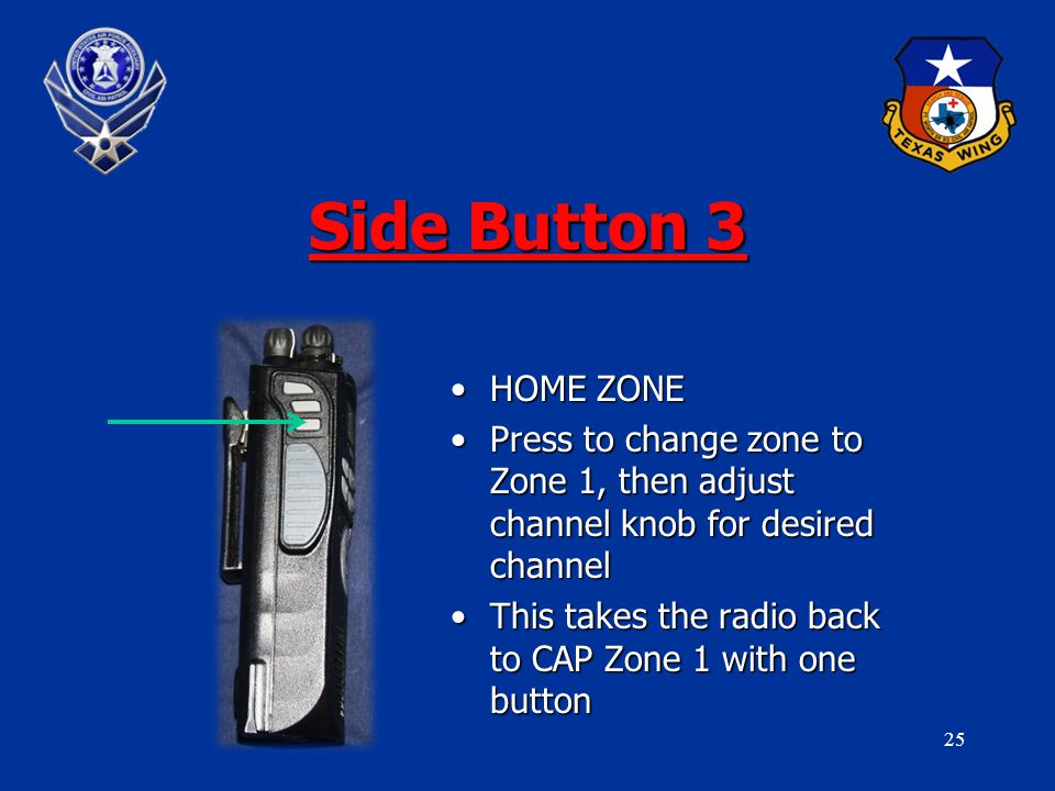 25 Side Button 3 HOME ZONEHOME ZONE Press to change zone to Zone 1, then adjust channel knob for desired channelPress to change zone to Zone 1, then adjust channel knob for desired channel This takes the radio back to CAP Zone 1 with one buttonThis takes the radio back to CAP Zone 1 with one button