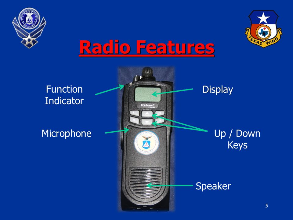5 Radio Features Function Indicator Display Microphone Speaker Up / Down Keys