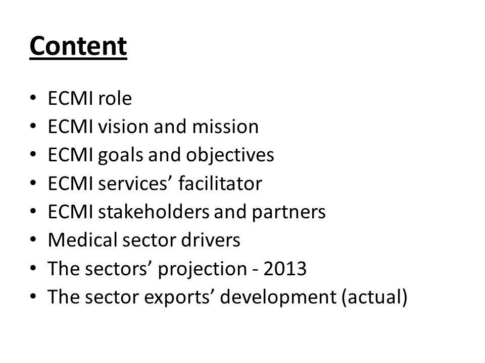 Content ECMI role ECMI vision and mission ECMI goals and objectives ECMI services' facilitator ECMI stakeholders and partners Medical sector drivers The sectors' projection - 2013 The sector exports' development (actual)