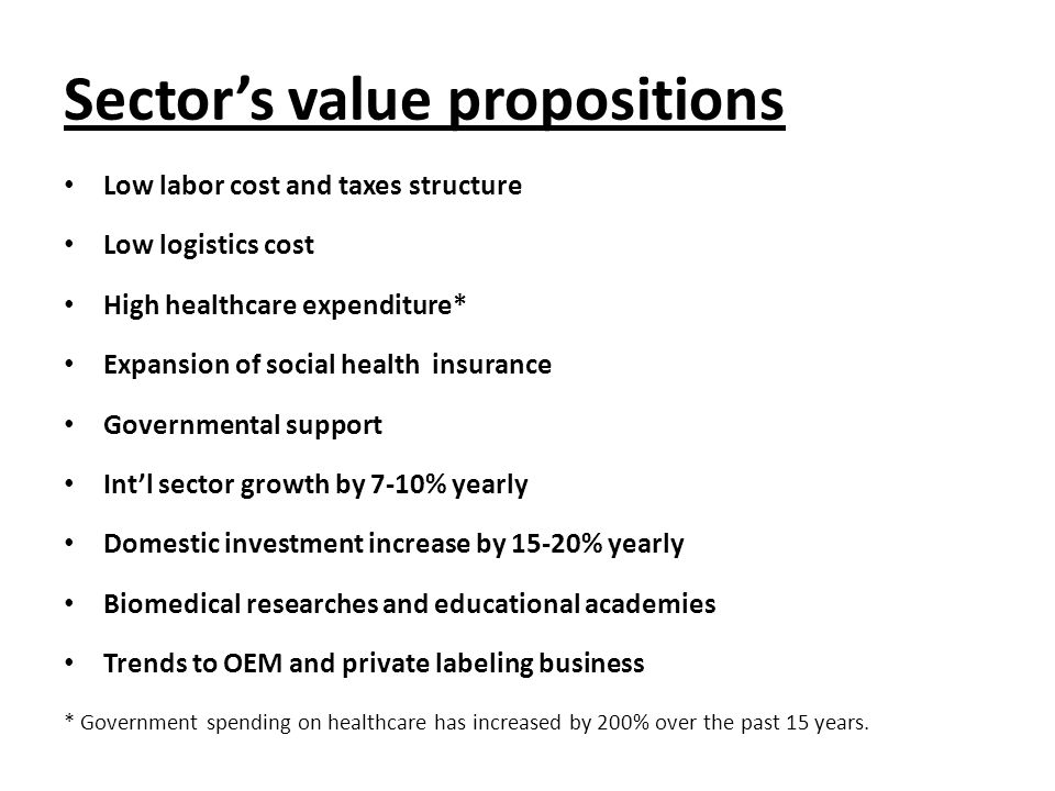 Sector's value propositions Low labor cost and taxes structure Low logistics cost High healthcare expenditure* Expansion of social health insurance Go