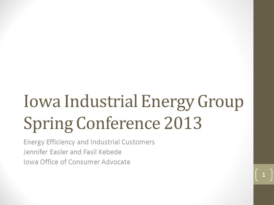 Iowa Industrial Energy Group Spring Conference 2013 Energy Efficiency and Industrial Customers Jennifer Easler and Fasil Kebede Iowa Office of Consumer Advocate 1