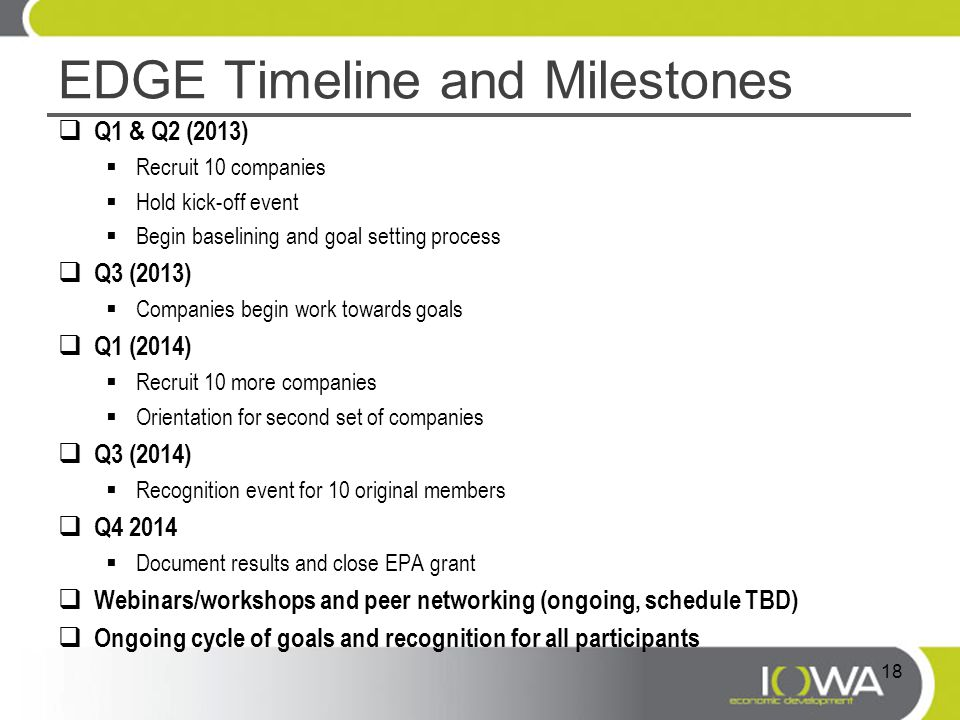 EDGE Timeline and Milestones  Q1 & Q2 (2013)  Recruit 10 companies  Hold kick-off event  Begin baselining and goal setting process  Q3 (2013)  Companies begin work towards goals  Q1 (2014)  Recruit 10 more companies  Orientation for second set of companies  Q3 (2014)  Recognition event for 10 original members  Q4 2014  Document results and close EPA grant  Webinars/workshops and peer networking (ongoing, schedule TBD)  Ongoing cycle of goals and recognition for all participants 18