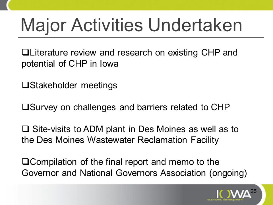Major Activities Undertaken  Literature review and research on existing CHP and potential of CHP in Iowa  Stakeholder meetings  Survey on challenge