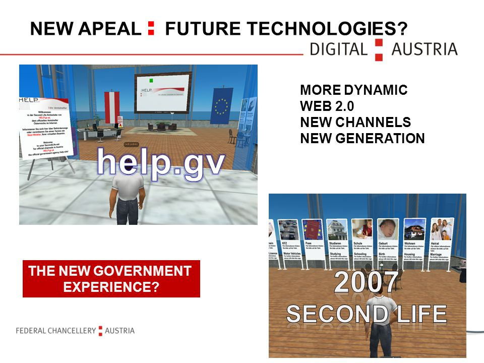 NEW APEAL : FUTURE TECHNOLOGIES? MORE DYNAMIC WEB 2.0 NEW CHANNELS NEW GENERATION THE NEW GOVERNMENT EXPERIENCE?