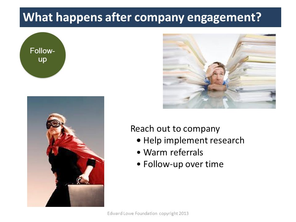 Edward Lowe Foundation copyright 2013 What happens after company engagement.