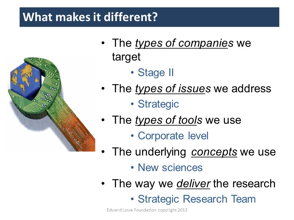 The types of companies we target Stage II The types of issues we address Strategic The types of tools we use Corporate level The underlying concepts we use New sciences The way we deliver the research Strategic Research Team Edward Lowe Foundation copyright 2013 What makes it different?