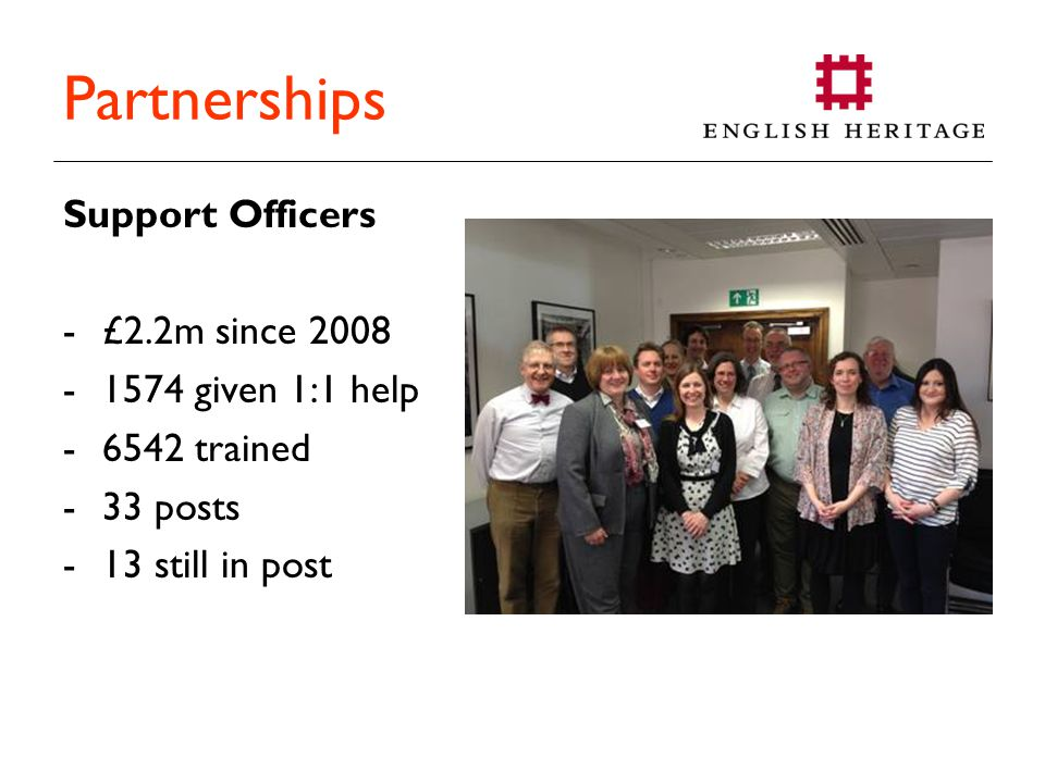Partnerships Support Officers -£2.2m since 2008 -1574 given 1:1 help -6542 trained -33 posts -13 still in post