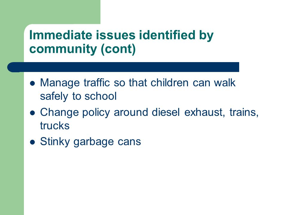 Immediate issues identified by community (cont) Manage traffic so that children can walk safely to school Change policy around diesel exhaust, trains, trucks Stinky garbage cans