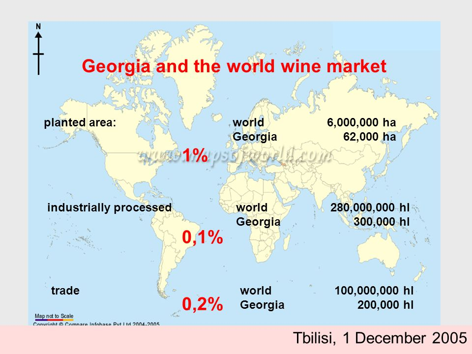 Georgia and the world wine market planted area:world 6,000,000 ha Georgia 62,000 ha industrially processed world 280,000,000 hl Georgia 300,000 hl trade world 100,000,000 hl Georgia 200,000 hl 1% 0,1% 0,2% Tbilisi, 1 December 2005