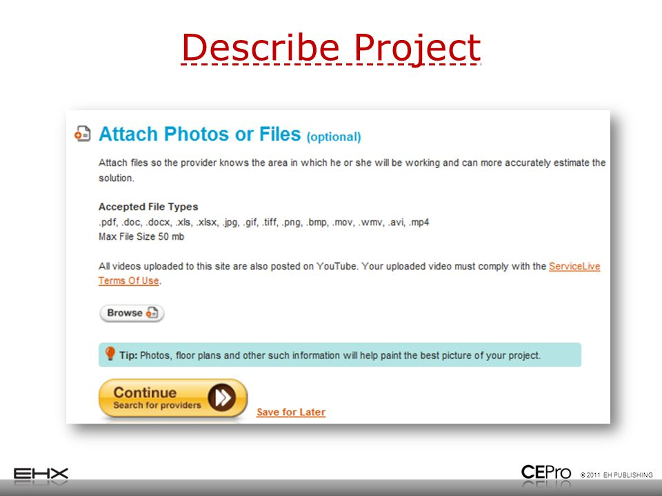 © 2011 EH PUBLISHING Describe Project