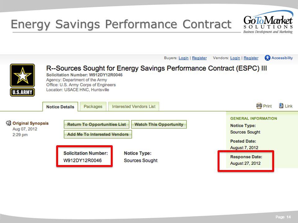 Page 14 Energy Savings Performance Contract