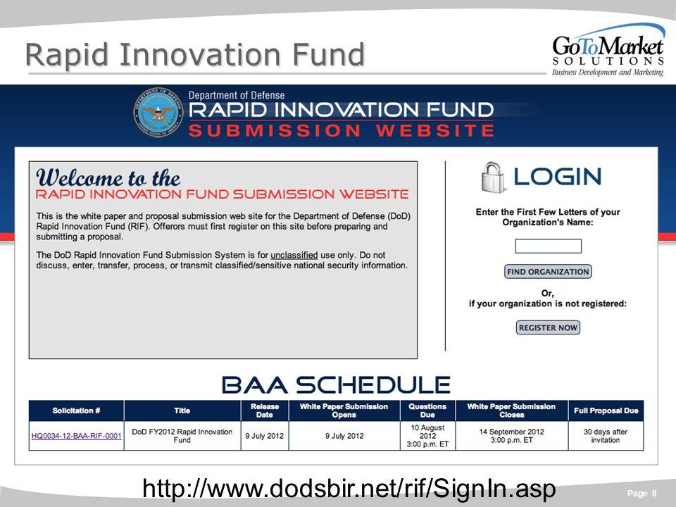 Page 8 Rapid Innovation Fund http://www.dodsbir.net/rif/SignIn.asp