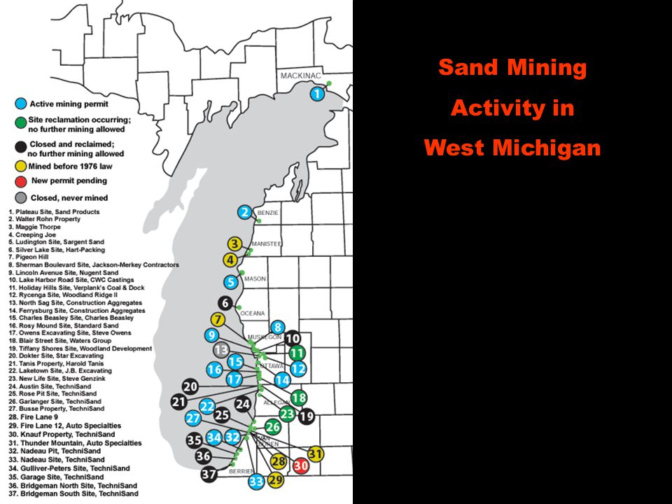 Sand Mining Activity in West Michigan