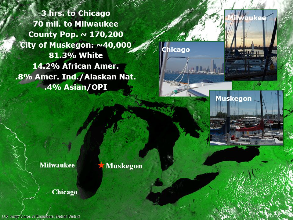 Muskegon Milwaukee Chicago 3 hrs. to Chicago 70 mil.