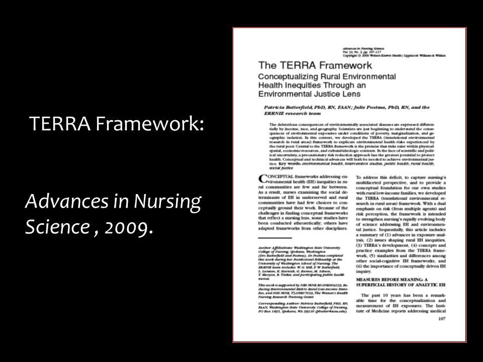 TERRA Framework: Advances in Nursing Science, 2009.