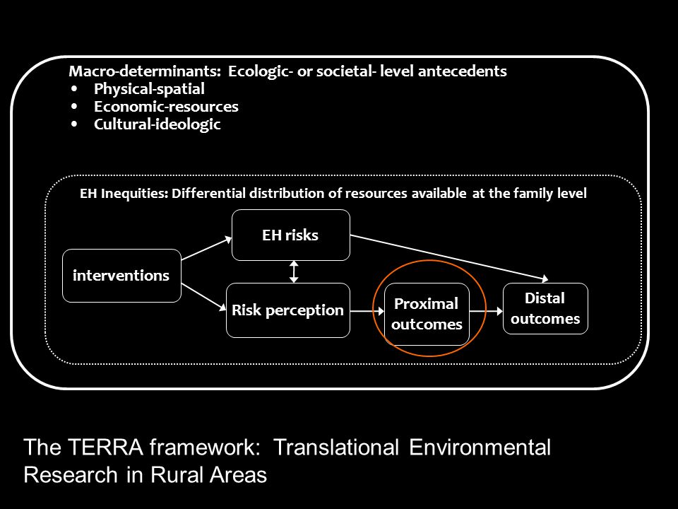 EH risks Risk perception Proximal outcomes Distal outcomes interventions Macro-determinants: Ecologic- or societal- level antecedents Physical-spatial