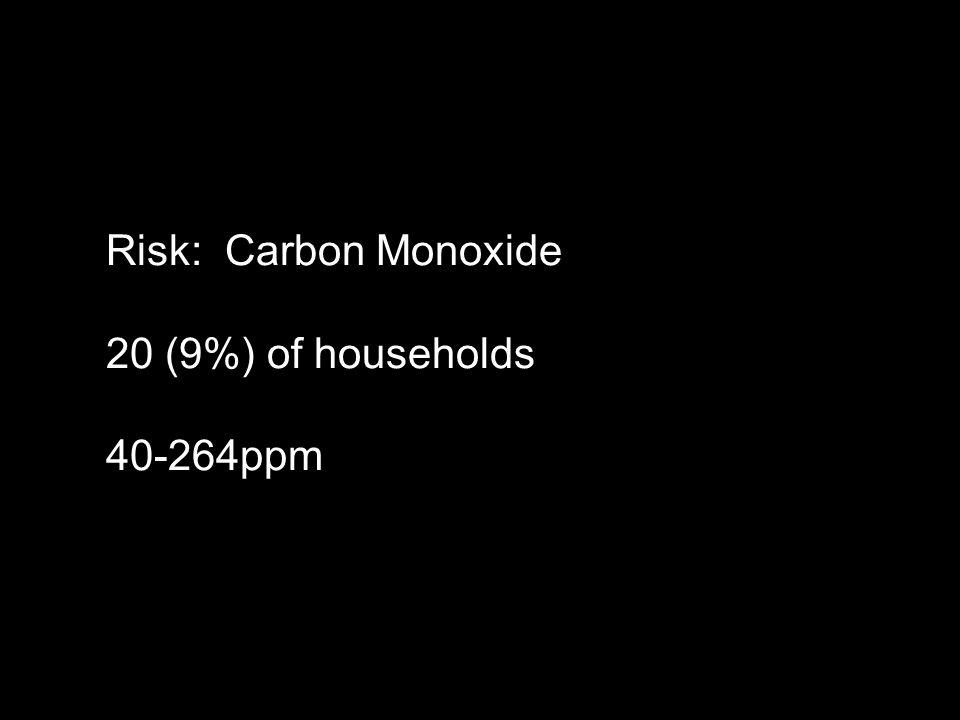 Risk: Carbon Monoxide 20 (9%) of households 40-264ppm