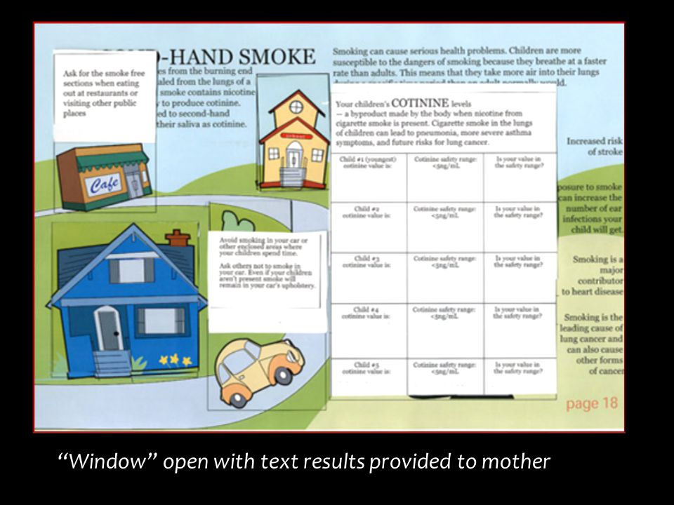 """Window"" open with text results provided to mother"