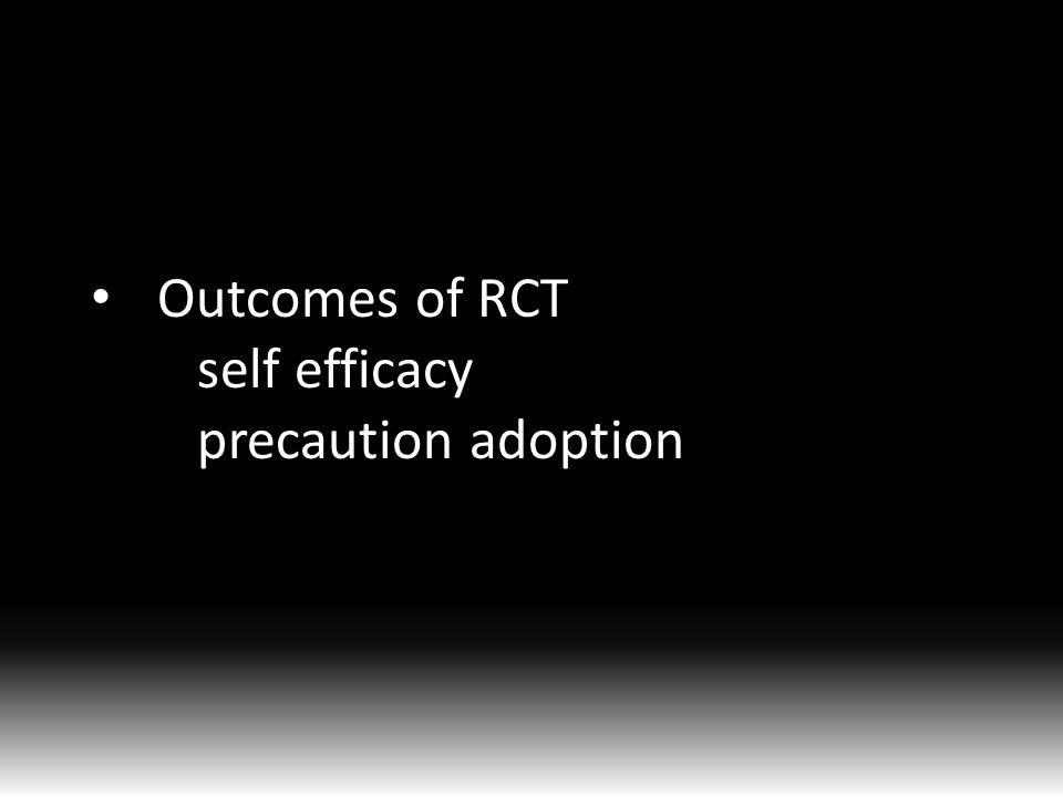 Outcomes of RCT self efficacy precaution adoption
