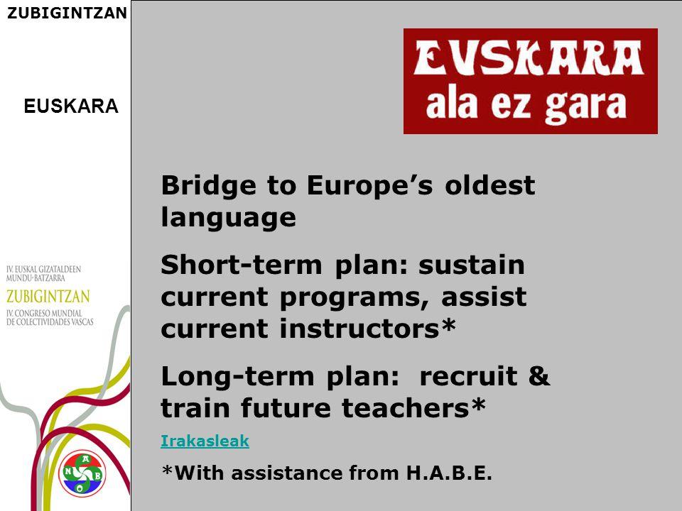ZUBIGINTZAN Bridge to Europe's oldest language Short-term plan: sustain current programs, assist current instructors* Long-term plan: recruit & train future teachers* Irakasleak *With assistance from H.A.B.E.