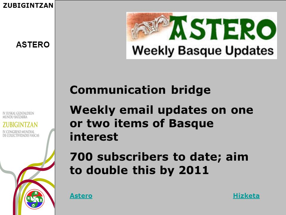 ZUBIGINTZAN Communication bridge Weekly email updates on one or two items of Basque interest 700 subscribers to date; aim to double this by 2011 AsteroAstero HizketaHizketa ASTERO
