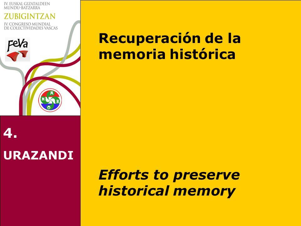 4. URAZANDI Recuperación de la memoria histórica Efforts to preserve historical memory